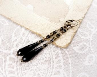 Brass Black Earrings with Black Onyx