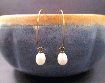 Pearl Earrings, White Freshwater Pearl and Brass Hoop Earrings, Teardrop Earrings, FREE Shipping U.S.
