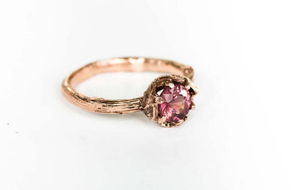 14k rose gold malaya garnet leaf engagement ring, twig nature gold engagement ring, leaf engagement ring
