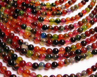 Agate crackle round multicolor - 6 mm round beads -1 full strand - 68 beads - RFG1451