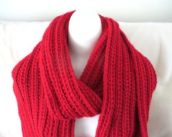 Red Super Scarf, Knitted Scarf Extra Wide, 9 x 103 inches, Mens Scarf, Womens Scarf, Ready to Ship