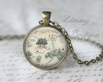 Winnie the Pooh, Hundred Acre Woods Map, Pooh Illustration, A. A. Milne Necklace or Keyring, Keychain.