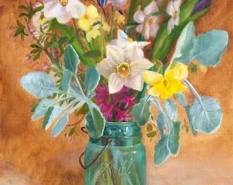 Mason Jar Print, Daffodil Painting, Ball Jar Print, Flower Painting, Farmers Market Bouquet, Print of original oil painting by Amelia Nowak