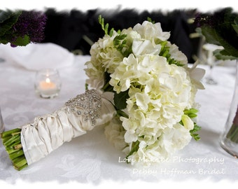 Bouquet Wrap, Crystal Wedding Bouquet Wrap, Rhinestone Bridal Bouquet Cuff, Jeweled Bridal Bouquet Wrap, Bouquet Accessories, No. 1166BW