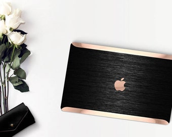 Macbook Pro 13 Case Macbook Air Case Laptop Case Macbook Case . Black Brushed  and Rose Gold Chrome . Hard Case - Platinum Edition