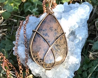 Honey Dendritic Agate Wire Wrapped Necklace, Agate Necklace, Crystal Necklace, Metaphysical, Simple, Boho