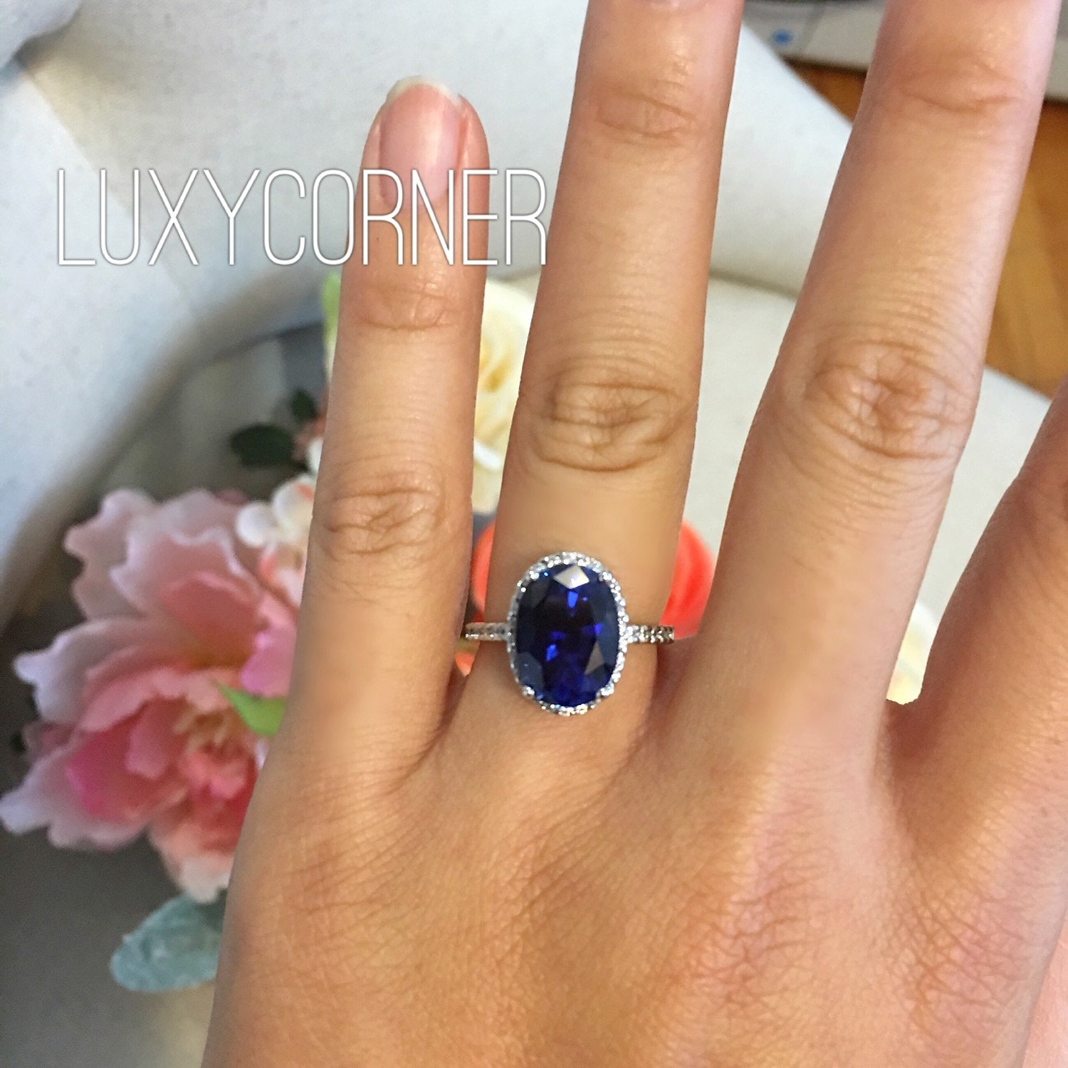 cushion blue ring carat diamond sapphire
