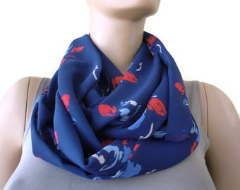 Red tulips Chiffon Infinity scarf cowl,Midnight blue with red tulips   Necklace scarf -Tube version