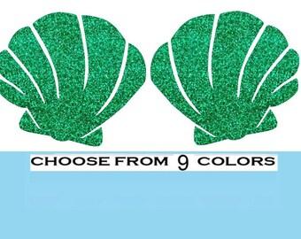 Mermaid Shells-Glitter vinyl Iron On- Choose your Color