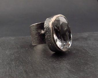 Anneau de déclaration / rustique bijoux / massif brut zircone cubique / argentée / taille 8 / argent bague / cadeau pour elle / fait main bijoux / souvenir