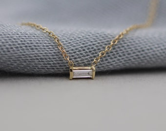 14k solid gold white sapphire  necklace baguette solitaire necklace