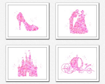 Pink Princess art, bright pink princess set instant download, pink Cinderella silhouette, slipper, pumpkin carriage, Prince Charming