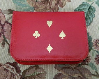 Vintage Griffon Ground Leather Case Made in Austria Red Leather Card Case Zippered Two decks of Cards Pencil Score Pad 1960s