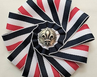 Cockade French Tricolore - Blue White Red Ribbon - French Revolution Rosette