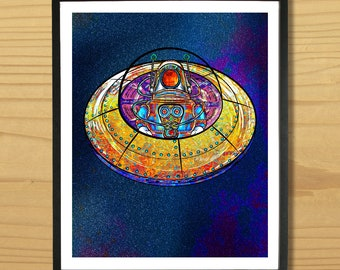 Flying Saucer Print, Space Print, Flying Saucer Wall Art, Outer Space Print, Robot Wall Art, Alien Print, Astronaut Print, Digital Download
