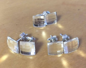 Sterling Silver Stud Swarovski Chessboard Earrings - 10cm