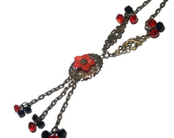 Necklace chain CASCADE/red glass, black, bronze