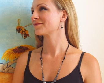 Leather and Bead Necklace, Dark Labradorite Statement Bib, Contemporary Artisan Leather & Bead Design, WillOaksStudio Original