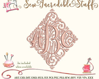 Triple Initial Machine Embroidery Monogram Font