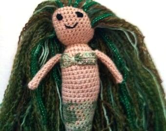 Crochet mermaid doll, green mermaid, mermaid doll, knit mermaid, crocheted mermaid, ready to ship mermaid, mermaid toy, mermaid amigurumi