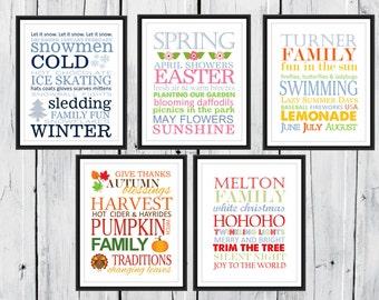 Seasons Print Set 5 Prints with Frame - 8x10 Perfect Gift