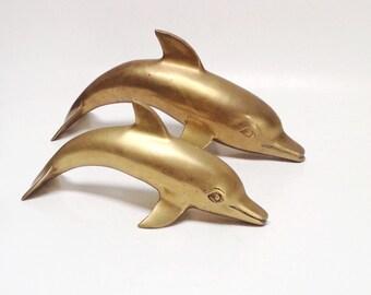 Vintage Set of Two Brass Dolphins | Brass Dolphin Figurine | Vintage Brass Animal | Brass Decor | Midcentury Modern Decor