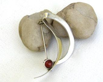 vintage sterling silver and carnelian  pin  ...   mid century modern ...  elegant vintage gift