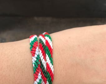Adjustable Mexico Flag Inspired Colors Braided Bracelets