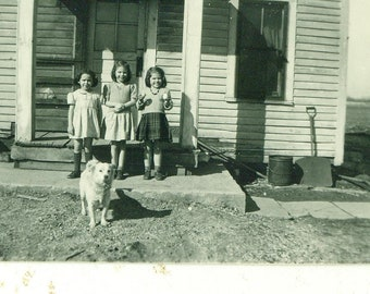 1940s Little Girls Standing on Porch With Dog Cookie in Hand 40s Vintage Photograph Black White Photo