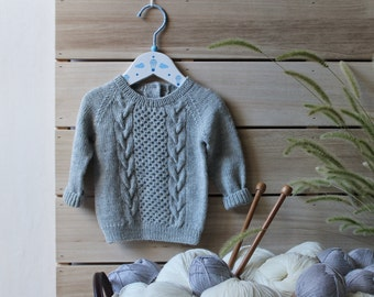 Knit Baby Sweater / baby boy sweater / baby girl sweater / grey baby sweater / knitted kids sweater / knit sweater for children