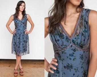Vintage 1990's I Betsey Johnson I Blue I Floral I Silk I Dress I S