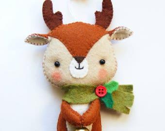 Felt PDF pattern - Cute Little Reindeer - Felt Christmas tree ornament, hand sewing DIY project, felt softie, digital item