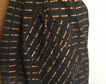 Vintage Half Apron Black with Copper Stripes 4 Asymmetrical Pockets