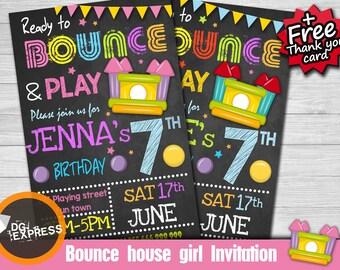 "Bounce House Invitation - ""BOUNCE HOUSE BIRTHDAY Invitation"" Jump Party, Girl Boy Digital Jumping Castle Invite, Birthday Printable"