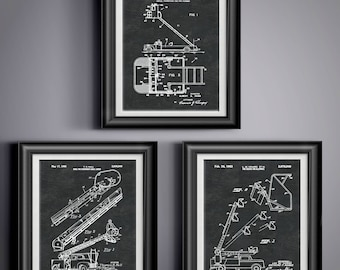Firefighter Decor * Firefighters Gifts * Firefighters Wife * Firefighter Gifts * Firetruck Birthday * Fireman Gifts Patent Art Set of 3 8351