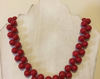 Vintage-Style Cherry Beaded Necklace (18 inches)