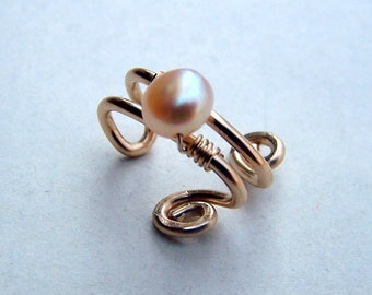 Gold Ear Cuff - Pink Pearl Gold Filled Ear Cuffs Pearl Jewelry