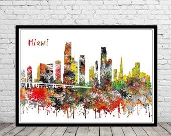 Miami, Miami skyline, Miami Florida, Miami print, Miami art, Office Art, Florida, watercolor Miami, watercolor City Print, Office Art