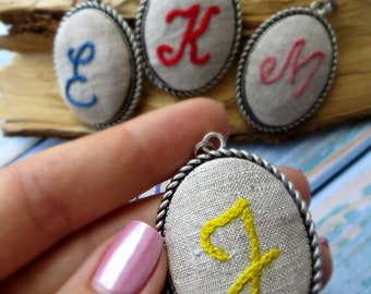 4th anniversary gift for wife Fourth anniversary  Linen anniversary gift from husband 4 year Embroidered Letter necklace Unusual gift