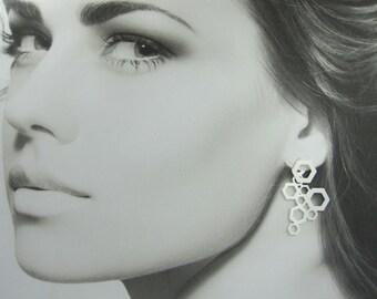 Unique Earrings, Statement Silver Jewelry, Ear Jacket Earrings, Long Earrings, Earring Jackets, Front Back Earrings,Silver Geometric Earring