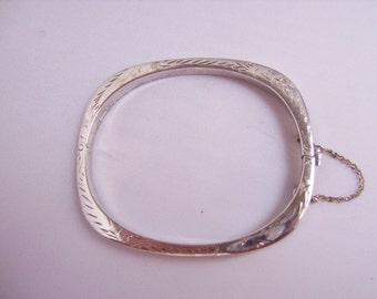 SALE-Vintage/Antique Etched Sterling Silver Bangle Bracelet
