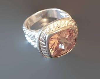 925 Sterling Silver Vintage Citrine Ring Size 8 1/4