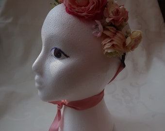 Pink cottage faux flower crown