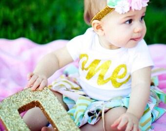 Pink gold mint first birthday headband, pink mint and gold first birthday headband, pink and gold birthday headband