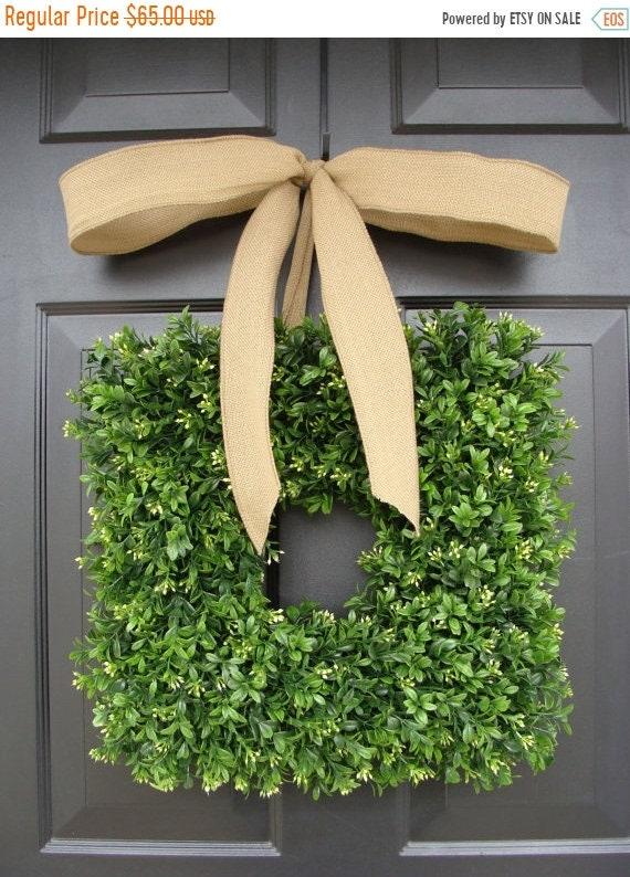SUMMER WREATH SALE Square Boxwood Wreath Burlap Bow- Spring Wreath- Outdoor Wedding Decor- Burlap Ribbon- Summer Wreath- Housewarming Gift-
