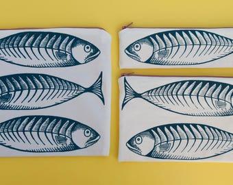 Mackerel fish bags screen printed Handmade