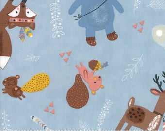 Wild and Free - Woodland Critters in Sky by Abi Hall for Moda - 35311 15