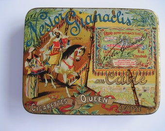 Queen Gold Tipped Cigarette tin (20/empty) by Nestor Gianaclis c.1920