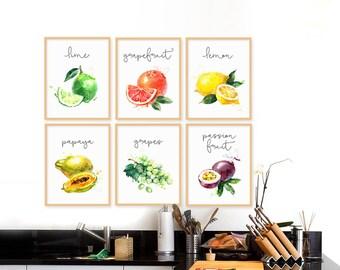 Superb Fruits Collection, Fruits Set Of 6, Watercolor Illustration, Fruits Kitchen  Decor, Kitchen