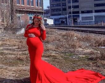 Women Long Sleeves scoop neck fitted maternity dress/ maternity dress/ maternity gown/ pregnancy photography/Gender Reveal dress /Babyshower